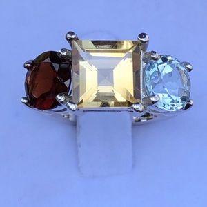 Citrine, Blue Topaz & Garnet 925 Silver Ring